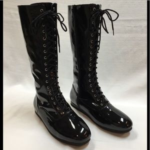 New Black Patent Boots